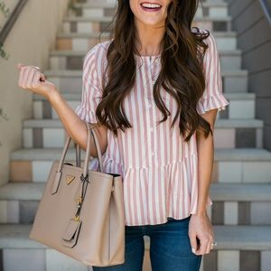 Madewell Pink White Stripe Peplum Top